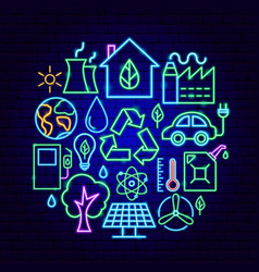 ecology neon concept vector image