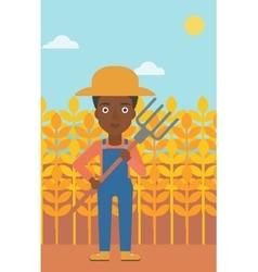 Farmer with pitchfork vector
