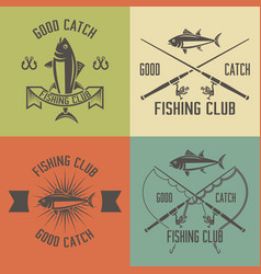 fishing club set vintage emblems vector image