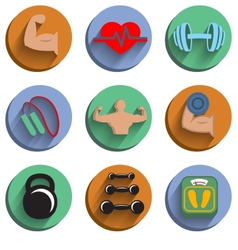 Fitness bodybuilding sport icons set vector