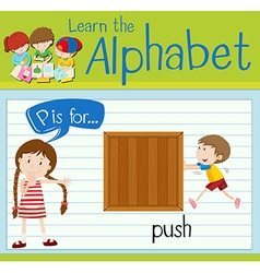 Flashcard letter P is for push vector image