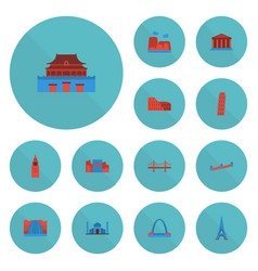 Flat icons india mosque architecture courthouse vector