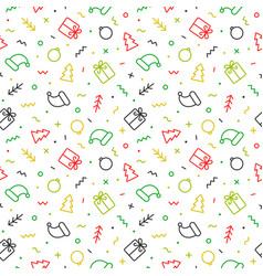 Flat outline christmas seamless pattern vector