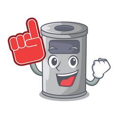 Foam finger cartoon steel trash can in the office vector