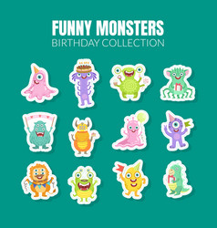 Funny monsters birthday collection of vector