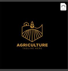 gold agriculture farm line badge vintage logo vector image