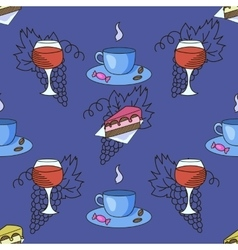 Grapes wine coffee cafe seamless pattern vector image