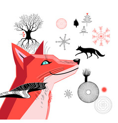 graphic beautiful portrait a red fox vector image