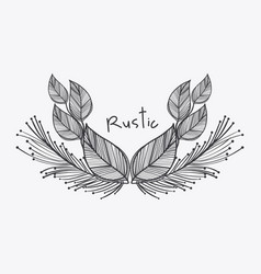 Gray rustic leaves icon vector