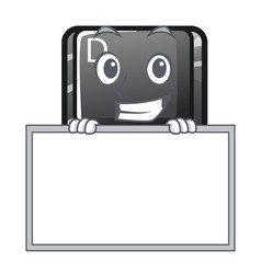 grinning with board button d on a computer mascot vector image