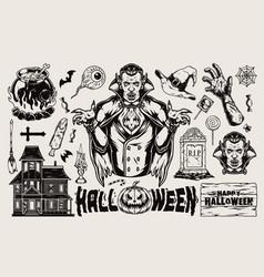 halloween vintage elements set vector image