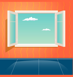 Home open glass window frame cartoon interior vector