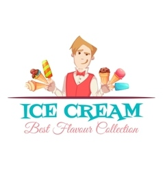 Ice cream vendor with best flavour collection vector