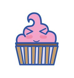 Kawaii cute funny muffin dessert vector