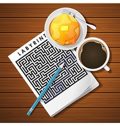 Labyrinth game with coffee cup and pancake vector