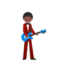 male african american musician in red suit playing vector image