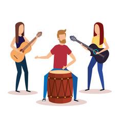 man playing bongo and girls playing guitars vector image