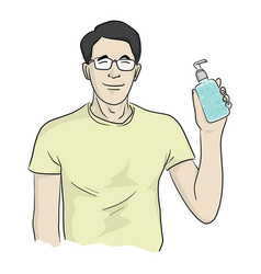 Man with glasses holding hands sanitizer vector
