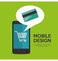 Mobile phone credit card shop online vector