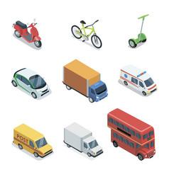 modern city transport isometric 3d elements vector image