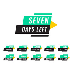 Modern number of days left tags vector