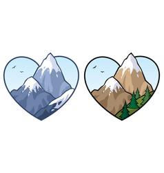 Mountain love sign vector