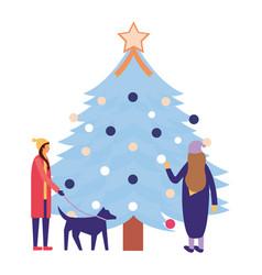 people christmas tree decoration vector image