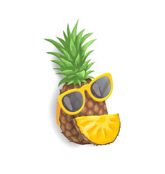 pineapple with sunglasses vector image