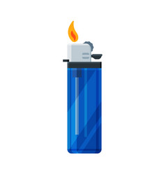 Plastic cigarette lighter with fire flammable vector