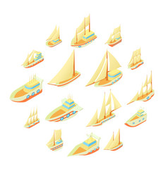 sailing ship icons set cartoon style vector image