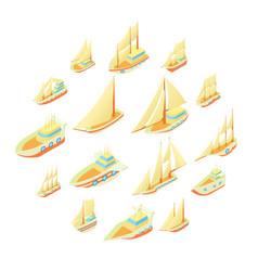 sailing ship icons set cartoon style vector image