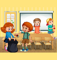 Scene with students cleaning classroom together vector