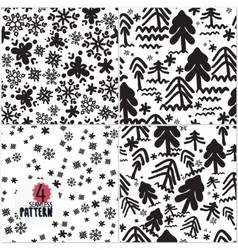 Seamless pattern handmade black and wiht vector image