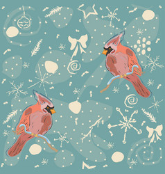 seamless pattern with red cardinal birds vector image