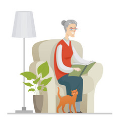 senior woman reading - flat design style vector image