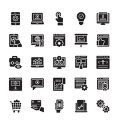 Seo and web optimization glyph icons 3 vector