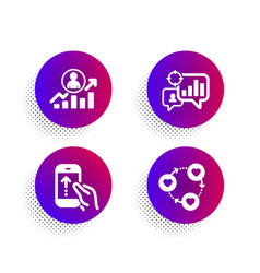 Seo statistics career ladder and swipe up icons vector
