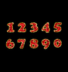Sequin red and gold numbers part 5 vector