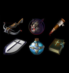 Set collection with realistic game icons vector