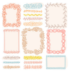 set doodle colored borders isolated on white vector image
