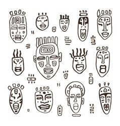 Set of African masks vector