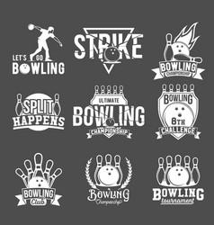 set of bowling emblems labels badges an vector image