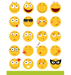 Set of cute emoticons emoji and smile icons vector