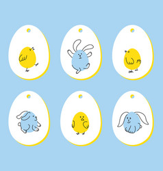 set of funny easter tags with bunny chick vector image