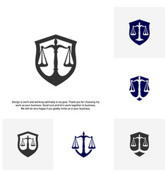 Set of law office logo in the form of shield with vector