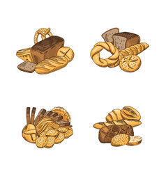 Set of piles of hand drawn colored bakery vector