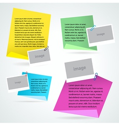 Set stiker note text and photo template vector