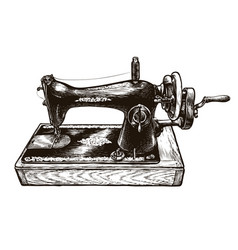 sewing machine sketch sewing workshop vintage vector image