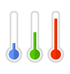 Simple style color thermometer icon set vector