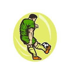 Soccer player kicking the ball vector